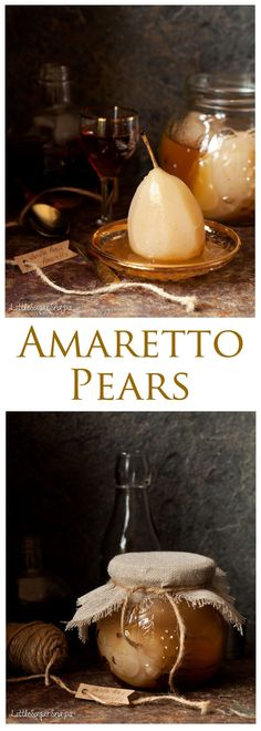 Amaretto Pears: take succulent poached pears and wrap them in an almond based liqueur to transform them into an incredibly stylish dessert. Make yourself a jar and keep them handy for next time you need to impress a guest at short notice. Pear Recipes, Fruit Recipes, Fall Recipes, Sweet Recipes, Dessert Recipes, Cooking Recipes, Vitamix Recipes, Chefs, Pear Dessert