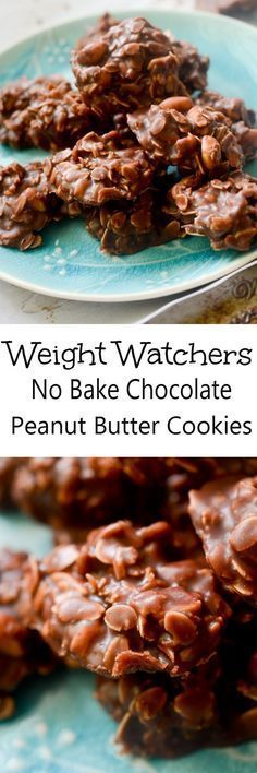 No Bake Chocolate Peanut Butter Cookies - Weight Watcher friendly - Recipe Weight Watcher Desserts, Plats Weight Watchers, Weight Watchers Meals, Ww Desserts, Healthy Desserts, Strawberry Desserts, Paleo Dessert, No Calorie Foods, Low Calorie Recipes