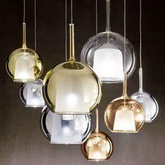 luminárias de vidro glo da italiana penta Coleção GLO de luminárias pendentes de vidro