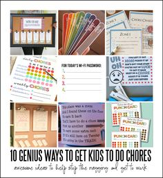 We struggle with this sometimes! 10 Genius Ways to Get Kids to Do Chores. Great printable chore charts and command center ideas to help kids remember to do their chores!