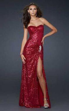 Red Sequin Strapless Long Prom Dress [strapless long dress ...