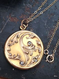 Antique Edwardian Art Nouveau Gold Filled Photo by MemoryStation