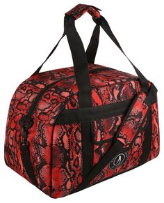 Tikiboo's Vibrant Snake Bite Gym Bag Features Bold Red And Black Snakeskin Print For Really Wild Style. There's Enough Room For A Towel, Trainers, Toiletries, Clothes And Water Bottle, Or A Weekend's Worth Of Packing. Hand Luggage Size, Luggage Sizes, Gym Bags, Wild Style, Sports Logo, Snake Skin, Shoulder Strap, Trainers, Studs