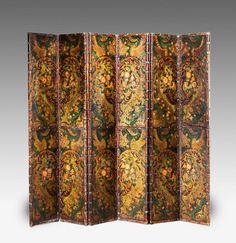 19th Century Six Fold Leather Screen, with embossed leather on the canvas,well deorated