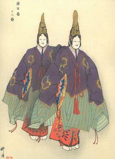 TSUKIOKA KOGYO Japanese woodblock print ORIGINAL Ukiyo-e Noh play Futari shizuka