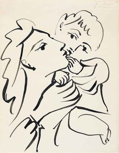 Picasso drawing, Mother and child, brush and India ink on paper, 1951 ca Henri Matisse, Henri Rousseau, Kunst Picasso, Picasso Art, Picasso Sketches, Pablo Picasso Drawings, India Ink, Paul Gauguin, Charcoal Drawings