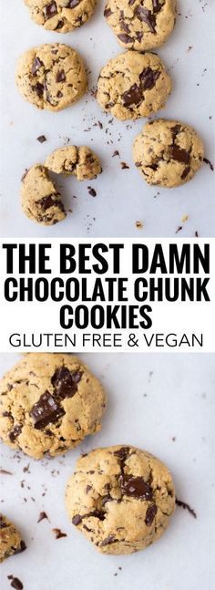 The Best Damn Gluten Free Vegan Chocolate Chunk Cookies: only 7 healthy whole food ingredients are required to make these melt-in-your-mouth chocolate chunk cookies! They bake in only 11 minutes!