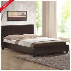 Leather Bed Double King Black Brown White With Memory Foam Orthopaedic