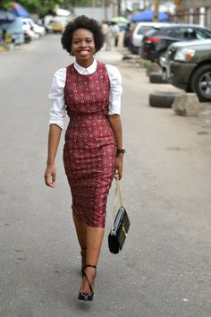 Ankara pinafore outfit with white shirt for work style chic. How to wear Ankara formal dress style to work.