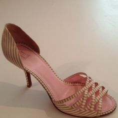 TOMMY HILFIGER beige and tan striped D'Orsays Beautiful tan and cream striped D'orsay pumps. Show minimal signs of wear on heels but not noticeable when being worn. Reduced pricing due to minor imperfection..They still look great. Pre-loved in good condition. Tommy Hilfiger Shoes