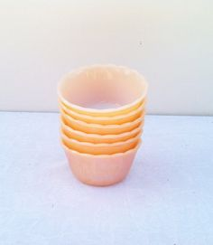Vintage 1950s Fire King Peach Lustre Custard Cups Bowls Set of 6 Anchor Hocking Peach Luster Vintage Kitchen #fireking #peachlustre #anchorhocking