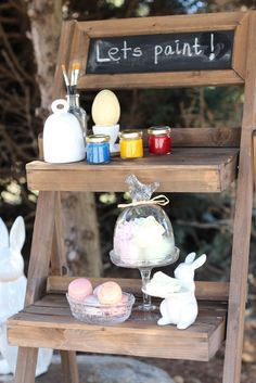 easter egg painting station for the kids!  outdoor activities