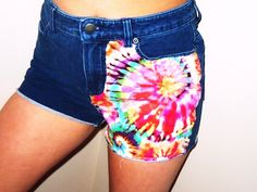 High waisted tie dye denim shorts, Etsy.