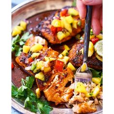 Blackened Salmon With Garlic Thyme Lime Butter And Spicy Mango Salsa via @feedfeed on https://thefeedfeed.com/vodkaandbiscuits/blackened-salmon-with-garlic-thyme-lime-butter-and-spicy-mango-salsa-1