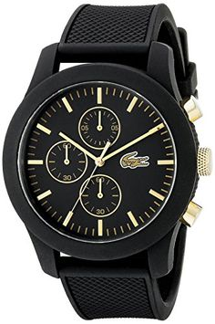 Men's Wrist Watches - Lacoste Mens 2010826 1212 Analog Display Quartz Black Watch * More info could be found at the image url.