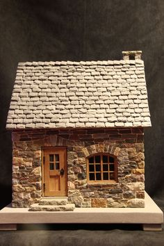 Cutest DIY Miniature Stone House Ideas Skip to full craft Clay Houses, Putz Houses, Paper Houses, Miniature Houses, Miniature Dolls, Doll Houses, Stone Cottages, Stone Houses, Fairy Garden Houses