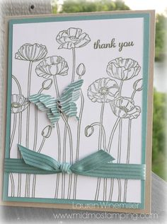 Stampin' Up! Pleasant Poppies with NEW Satin Stitched In Color Ribbon www.midmostamping.com