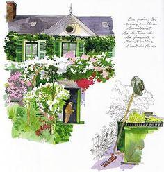 Fabrice Moireau - Paris Watercolor Sketch, Watercolor Flowers, Watercolour Painting, Building Illustration, Illustration Art, Fabrice Moireau, Art Sketches, Art Drawings, Urban Sketchers