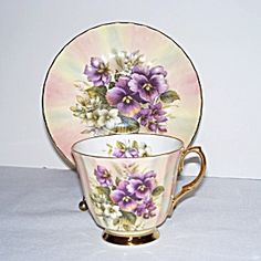 Crown Victorian Pansies on Rainbow Pastel Tea Cup and Saucer