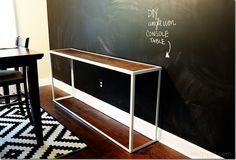DIY angle iron console table