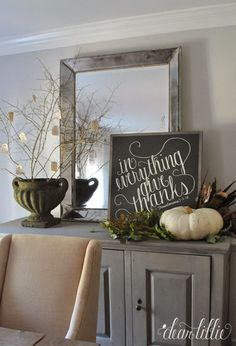 In Everything Give Thanks sign and simple Thanksgiving décor.  Thankful tree from branches and fabric tags (Michaels)