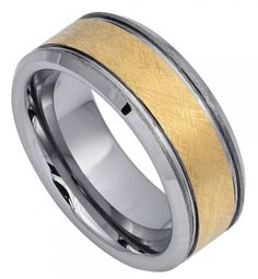 8mm Tungsten Ring Men Women Wedding Band Yellow Gold IP Plated Sanblasted Finish