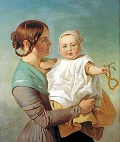 """Emanuel Gottlieb Leutze (German-born American artist, The Amber Necklace Fantastic look at """"Trail Hair"""" nice dress too. It's About Time: American Families PUBLIC DOMAIN Baltic Amber Teething Necklace, Amber Necklace, Mother And Child Reunion, Pioneer Trek, Victorian Hairstyles, Museum, Women In History, Mothers Love, American Artists"""