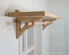 Pair od Shelf Bracket Support With Curtain/Drapery Rod Holder Unique Concept Handcrafted Entirely From Reclaimed Wood - Diy Möbel Curtain Rod Holders, Diy Curtain Rods, Drapery Rods, Diy Curtains, Wooden Curtain Rods, Window Curtains, Wood Shelf Brackets, Wooden Shelves, Diy Shelf Bracket