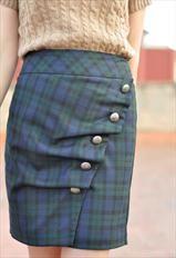 tartan, asymmetrical, buttons