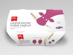 Packaging designed by Studio h for yoghurt range Swiss Plus from Emmi