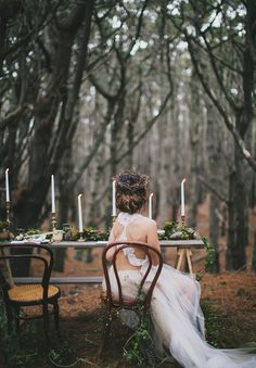 Woodland bride with an all-twig crown.