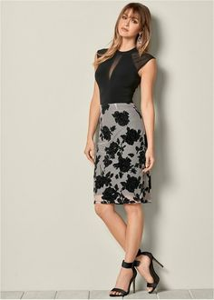 Flocked mesh midi skirt from Venus