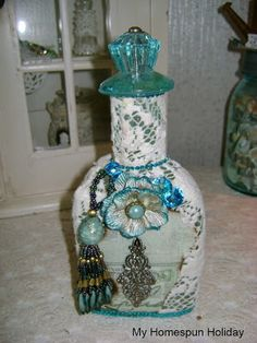 Beautiful altered bottle from My Homespun Holiday