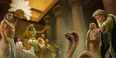 O bastão de Moisés se transforma numa serpente diante de Faraó e da corte egípcia