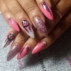 Dream Catchers Baby Pink Nail Art Ideas For Girls #pinknails