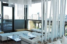 12 Ideas for Events with All White Decor    Hospitality brand Nikki Beach hosted a V.I.P. pop-up lounge for the Toronto International Film Festival in 2009. The space on the 18th floor of the Park Hyatt was outfitted with flowing white curtains and white quilted leather furnishings, and white-lacquered bamboo