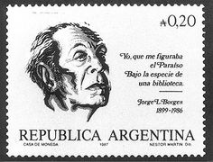 Argentine postage stamp of Jorge Luis Borges. Kinds Of Reading, Going Postal, Stamp Collecting, Postage Stamps, Artist, Writers, Ernest Hemingway, Snail Mail, Caricatures
