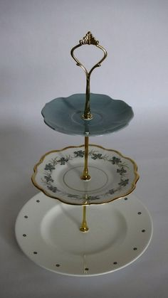 How to make a Vintage 3 Tier Cup Cake Plate Wedding Stand DIY kit Instructions Drill Bit Heavy Crown Handle Fitting Hardware & How To Make a 3 Tiered Cake Stand For Less Than $10 - I found cake ...