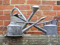 vintage watering cans arguing over who's next up to water the garden