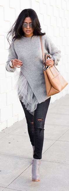 Grey Asymmetrical Tulle Detail Sweater