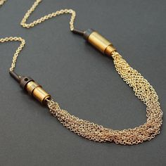 Multi Chain Necklace Brass Upcycled Industrial Found by Tanith, $36.00