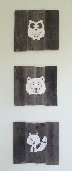 Woodland Nursery Decor Pallet Wood Animal Pictures by WildLittleBear