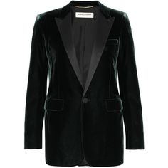 Saint Laurent Satin-trimmed velvet tuxedo blazer (9,865 SAR) ❤ liked on Polyvore featuring outerwear, jackets, blazers, shoulder pad jacket, tuxedo jacket, tux blazer, velvet tuxedo jacket and velvet tux jacket