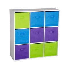 Meuble de rangement 9 tiroirs - 90 x 29,5 x 90 cm - Blanc, violet, vert, bleu