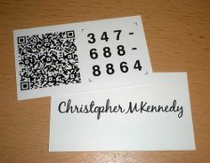A QR code business card uses a QR code, or Quick Response code, is a specific matrix barcode that is readable by dedicated QR barcode readers and camera phones.
