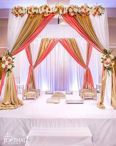The is set! White, Coral & Gold Mandap design by at Desi Wedding Decor, Wedding Hall Decorations, Marriage Decoration, Backdrop Decorations, Indoor Wedding Ceremonies, Wedding Ceremony Flowers, Wedding Mandap, Altar, Indian Wedding Stage