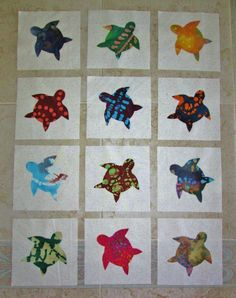 Set of  12  Batik  Tie Dye  Sea Turtle  Ocean Beach Quilt  Blocks