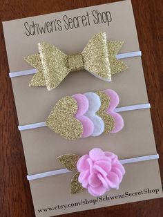 Gold felt headband, baby girl headband, felt bow headband, newborn headband, infant headband, felt hair bow, felt bows