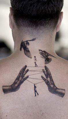 Bull Tattoos, Hand Tattoos, Sleeve Tattoos, Thigh Tattoos, Finger Tattoos, Simple Tattoos For Guys, Neck Tattoo For Guys, Back Neck Tattoo Men, Watercolour Tattoo Men