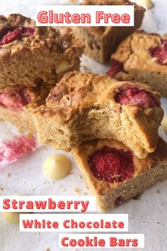 Simple and easy gluten free strawberry white chocolate cookie bars. With just a handful of store cupboard ingredients. You can whip up a batch of these cookie bars or blondies. Regardless of the name you know them by. They make a yummy treat to satisfy those sweet tooth cravings. Dairy free too.